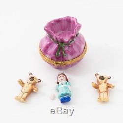 Limoges Porcelain Peit Main Trinket Box Santa's Bag with Toys Christmas France