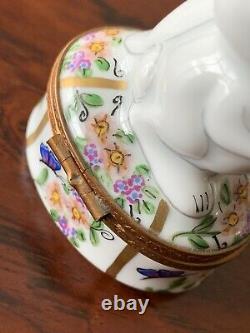 Limoges Porcelain Trinket Box Bunny Rabbit Butterfly Egg Easter Peint Main Repai