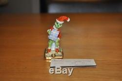 Limoges Porcelain Trinket Box Dr. Seuss Grinch Santa with Gifts Limoges Box RARE