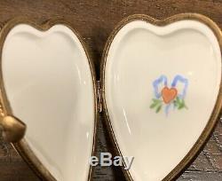 Limoges Porcelain Trinket Box, Heart Shaped, Cherubs Gift Of Love