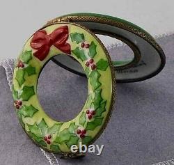 Limoges Porcelain Wreath Christmas Ornament Hinged Box