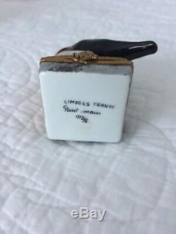 Limoges RARE Retired Edgar Allan Poe The Raven Book & Bird Hinged Trinket Box