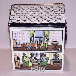 Limoges ROCHARD Peint Main DOLL HOUSE Vintage Rare Trinket Box