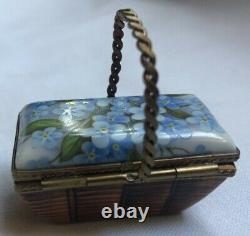 Limoges Rehausse Picnic Basket box Blue Flowers Porcelain Trinket Box