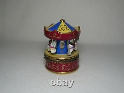 Limoges Rochard 3 Horse Merry Go Round / Carousel Trinket Box Peint Main