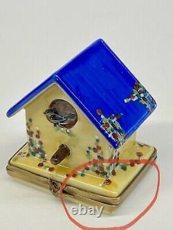 Limoges Rochard Birdhouse Peint Main Porcelain Trinket Box