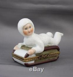 Limoges Rochard Child On Sled Hinged Trinket Box Peint Main France Snow Baby