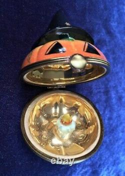 Limoges Rochard HALLOWEEN PUMPKIN withWitch Hat & Candle Trinket Box EXCELLENT
