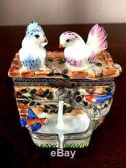 Limoges Rochard Peint Main Stone Fountain With Lovebirds Trinket Box