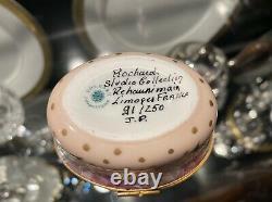 Limoges Rochard Signed Trinket Box Pink Floral & Butterfly Girl & Boy