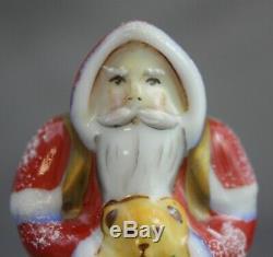 Limoges Santa With Teddy Bear Hinged Trinket Box La Vie En Rose Pere Noel
