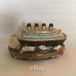 Limoges Titanic Hitting Iceberg Box BEAUTIFUL perfect condition collectible
