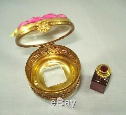 Limoges Trinket Box CHAMART Peint Main Roses, Filigree, Perfume Bottle