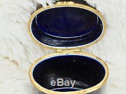 Limoges Trinket Box Castel Champs Elysees Cobalt Blue Gold Floral Oblong 4 Tall