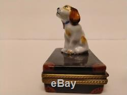 Limoges Trinket Box Chamart Exclusif Cocker Spaniel Puppy Dog On Suitcase