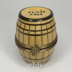Limoges Trinket Box Cuvee 2000 Wine Barrel Rochard Petit Main 3 Bottles Inside