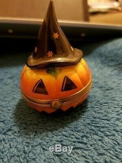Limoges Trinket Box Halloween Pumpkin With Witch Hat 17/500 Peint Main Versailles