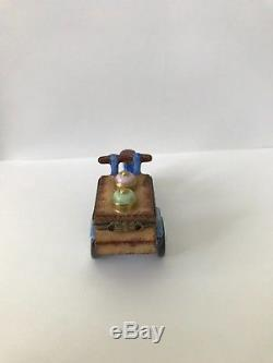 Limoges Trinket Box Ice Cream Cart Bicycle Hand Painted