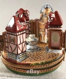 Limoges Trinket Box Medieval Village 4 Hinges Hand Painted SIGNED 564