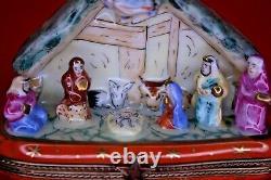 Limoges Trinket Box Peint Main France A. L. Nativity Scene