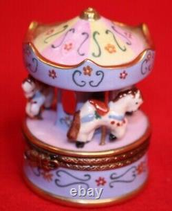 Limoges Trinket Box Peint Main France Carousel Horses Elda Creations