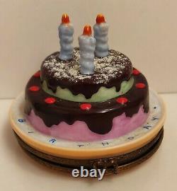 Limoges Trinket Box Peint Main France Happy Birthday Cake Elda Creations RARE