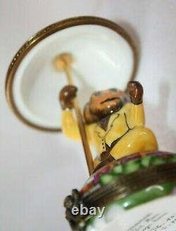 Limoges Trinket Box Peint Main France Monkey Umbrella Number Signed