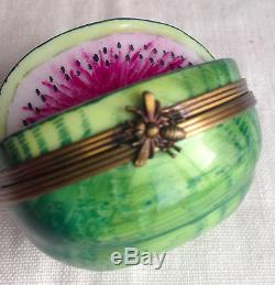 Limoges Trinket Box Peint Main Watermelon Bee Clasp France 2 Signed PV