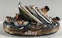 Limoges Trinket Box Sinking Titanic Ocean Liner Hand Painted SIGNED 558