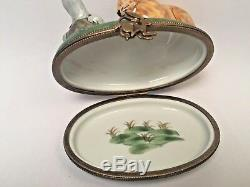 Limoges Trinket Box The Tortoise and the Hare Peint Main France Rare