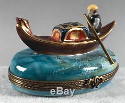 Limoges Trinket Box Venice Gondola and Gondolier Hand Painted SIGNED 572
