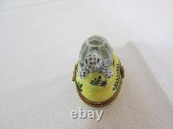 Limoges Trinket Box White and Green Turtle on Yellow Base