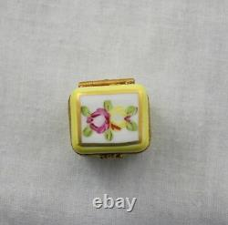 Limoges Trinket Box With Perfume Bottle Eximious Peint Main Yellow Floral Hinged