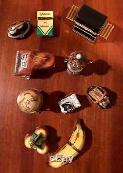 Limoges Trinket Boxes BULK Set of 9 Various Assortment