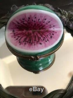 Limoges Trinket Boxes France Set of 3 Watermelon, Strawberry, Lemon