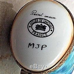 Limoges Turquoise SNAIL Escargot Peint main RARE Vintage France Trinket Box