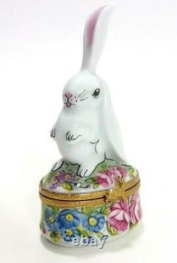 Limoges White Rabbit with Flowers Trinket Box Peint Main France