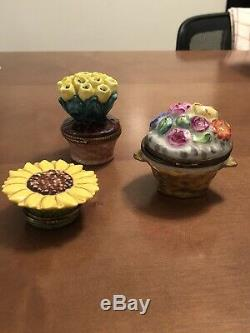 Limoges france peint main trinket box SET OF 3 FLOWER BOXES FOR THE PRICE OF ONE