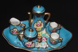 Limoges numbered TEA SET Miniature 2 Hinged + 5 Miniatures & Tray Peint Main