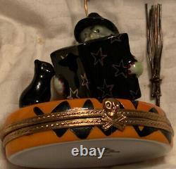 Limoges peint mein Halloween Witch Cat Bat Broom Trinket Box Pierre Arquie NEW