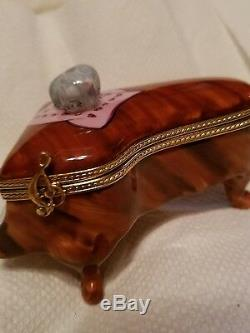 Limoges peint mein signed trinket box Pierre Arquie Cat Piano HTF LTD. ED NEW