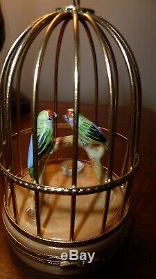 Limogues Artoria Peint Main Bird Cage Trinket Box Signed Excellent condition