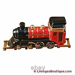 Locomotive/train On Brass Track Limoges Box Authentic Porcelain Figurine From