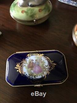 Lot 7 LIMOGES FRANCE Peint Main TRINKET BOX Rochard, Imperia Cobalt Blue