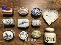 Lot Of 10 Trinket Box Porcelain Limoges Peint Halcyon Chantilly Crummles