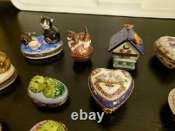 Lot of 15 Limoges France Peint Main Porcelain Trinket Boxes Excellent