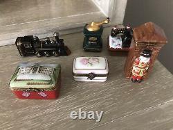Lot of 6 Limoges France Peint Main porcelain trinket boxes excel cond Exumious