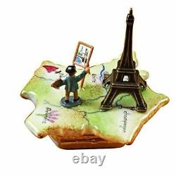 MAP OF FRANCE WithMONET & EIFFEL TOWER LIMOGES BOX AUTHENTIC PORCELAIN FIGURINE