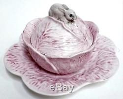 MOTTAHEDEH ITALIAN PORCELAIN COVERED BOX/BOWL with BUNNY & UNDERPLATE