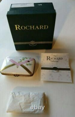 NIB Limoges ROCHARD Tabatiere Trinket Box Thinking of You/Love Letter with COA